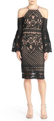 Women's Bardot 'Mila' Cold Shoulder Lace Midi Dress $129 thestylecure.com