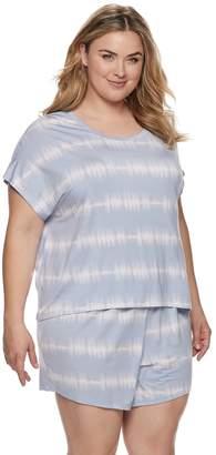 Sonoma Goods For Life Plus Size SONOMA Goods for Life Tie-Dye Sleep Tee & Pajama Shorts Set