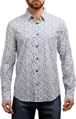 English Laundry Mini Floral Print Long Sleeve Sport Shirt