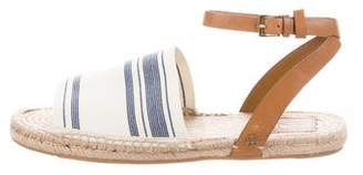Tory Burch Ankle Strap Leather-Trimmed Espadrilles