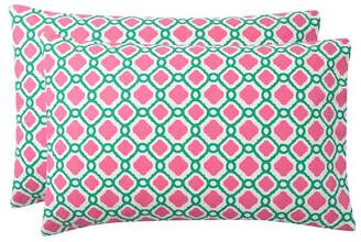 Pottery Barn Teen Trellis Splash Pillowcases, Set of 2, Bright Pink/Green