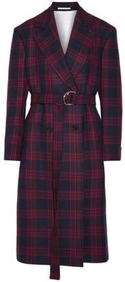 Calvin Klein Oversized Double-Breasted Checked Wool Coat