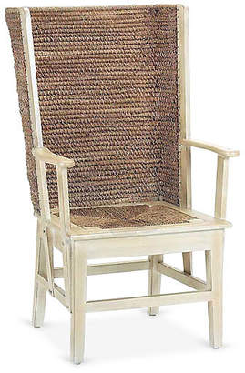 One Kings Lane Orkney Raffia Wingback Armchair - Antiqued White