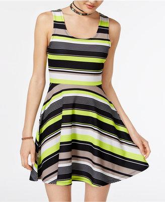 Planet Gold Juniors' Hazel Striped Fit & Flare Dress $39 thestylecure.com
