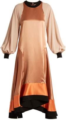 Roksanda Larmia round-neck butterfly-hem satin dress