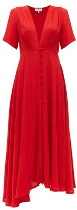Gioia Bini Carolina V Neck Crepe Midi Dress - Womens - Red