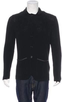John Varvatos Leather-Trimmed Cardigan