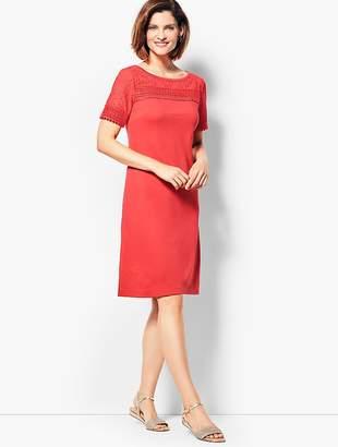 Talbots Lace-Trimmed Interlock Shift Dress