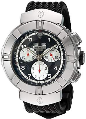 Charriol Men's 'Celtica' Swiss Quartz Stainless Steel and Rubber Dress Watch