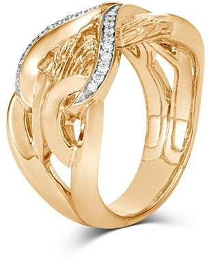 John Hardy 18K Yellow Gold Classic Chain Diamond Interlocking Link Ring