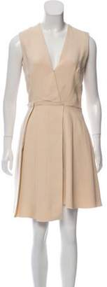 Victoria Beckham Pleated Knee-Length Dress Beige Pleated Knee-Length Dress