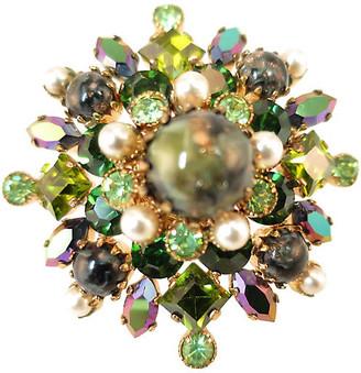 One Kings Lane Vintage 1950s Austria Art Glass Crystal Brooch - Neil Zevnik