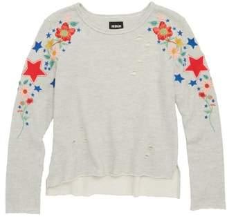 Hudson Embroidered & Distressed Sweatshirt