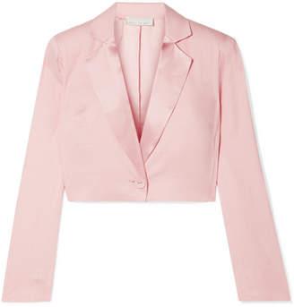 Fleur Du Mal Cropped Satin-trimmed Silk And Wool-blend Pique Blazer - Baby pink