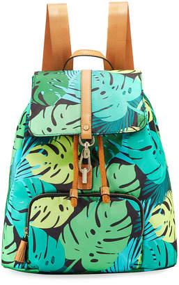 Neiman Marcus Bree Leaf-Print Nylon Backpack
