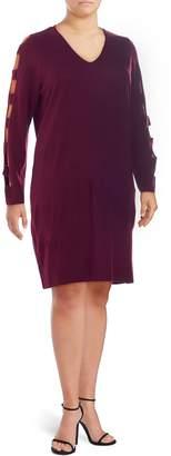 Love Scarlett Plus Ladder-Sleeve Sweater Dress