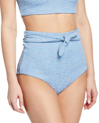 Mara Hoffman Jay Striped High-Rise Bikini Bottom
