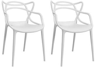Mod Made Modern Plastic Loop Dining Side Chair- Set of 2 (White)