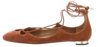 Aquazzura Lace-Up Suede Flats