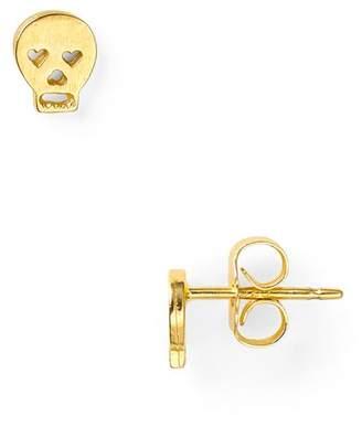 Dogeared Little Things Mini Gold Skull Stud Earrings