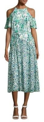 Donna Morgan Floral-Print Cold-Shoulder Dress