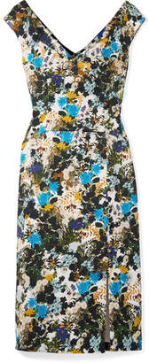 Erdem Jyoti Floral-print Cotton-blend Jacquard Midi Dress - Blue