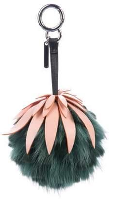 Fendi Fur-Trimmed Fruit Bag Keychain green Fur-Trimmed Fruit Bag Keychain