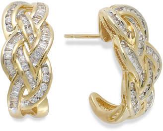 Macy's Wrapped In Love Diamond Woven Hoop Earrings in 10k Gold (1 ct. t.w.), Created for