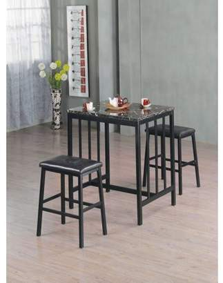 Home Source Industries Home Souce Symphony 3 Piece Bar Table Set with Faux Marble Table and Pair of Faux Leather Saddle Back Stools