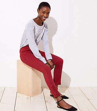 LOFT Modern Button Cuff Skinny Jeans in Robin Red