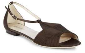 Giorgio Armani Stitched Leather Ankle Strap Flats
