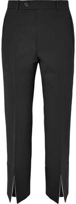 Helmut Lang Cropped Wool-blend Crepe Slim-leg Pants - Black