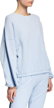 ATM Anthony Thomas Melillo French Terry Dropped-Shoulder Pullover w/ Side Stripes