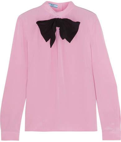 Prada - Bow-embellished Silk Crepe De Chine Blouse - Baby pink