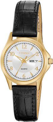 Citizen Women Quartz Brown Leather Strap Watch 28mm