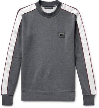 Dolce & Gabbana Satin-Trimmed Logo-Appliqued Loopback Cotton-Jersey Sweatshirt - Men - Dark gray