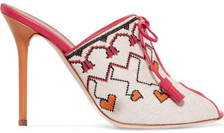 Malone Souliers + Natalia Vodianova Woven Linen And Leather Mules - Off-white