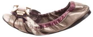 Miu Miu Peep-Toe Embellished Flats