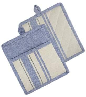 "Design Imports Nautical Blue French Stripe Potholders, Set of 2, 9""x8"", 100% Cotton, Blue"