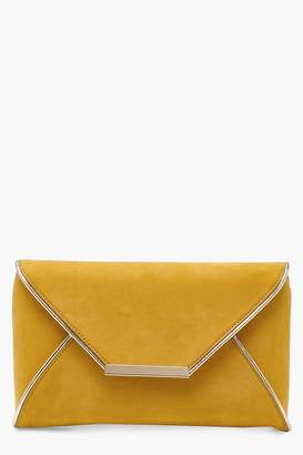 boohoo Maya Metallic Piping Envelope Clutch