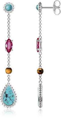 Thomas Sabo Sterling Silver Riviera Colours Earrings w/Turquoise, Synthetic Red Corundum and Tiger Eye Stones