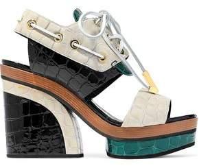 Pierre Hardy Deer Color-Block Croc-Effect Patent-Leather Platform Sandals