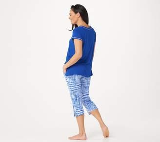 Cuddl Duds Smart Comfort Short Sleeve Tee & Cropped Pant PJ Set