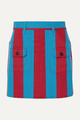 Prada Striped Denim Mini Skirt - Blue