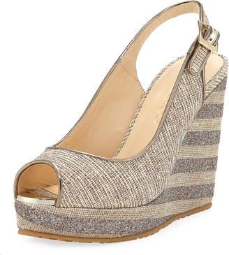 f66eb610d07b Jimmy Choo Prova Mixed Striped Wedge Sandals