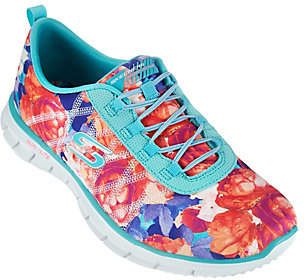 Skechers Floral Stretch-fit Bungee Sneakers -Glider Posies