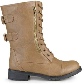 f4953fed38b Womens Buckle Pocket Lace-up Combat Boots