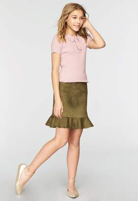 Milly Minis MillyMilly Stretch Suede Ruffle Mini Skirt