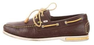 Louis Vuitton Square-Toe Leather Boat Shoes