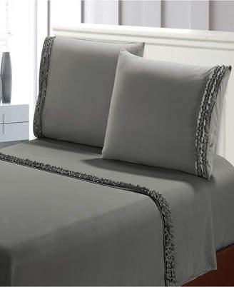 De Moocci Bella Shabby Chic Easy Care Ruffled 4pcs Microfiber Bed Sheet Set Bedding